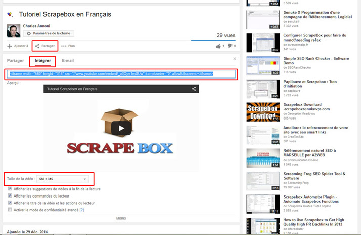 Exemple sur youtube