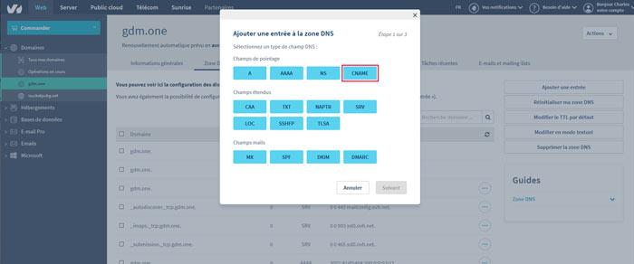 configdns2 - Configurer votre site Wordpress sur un serveur optimisé pour la vitesse